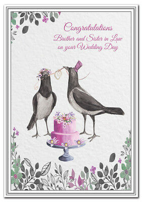 Brother and Sister in Law on your Wedding Day card - Premium Quality - Unique