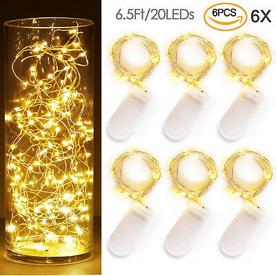 6 Pack 6.5ft 20 LEDs Battery Operated Mini LED Copper Wire String Fairy Lights