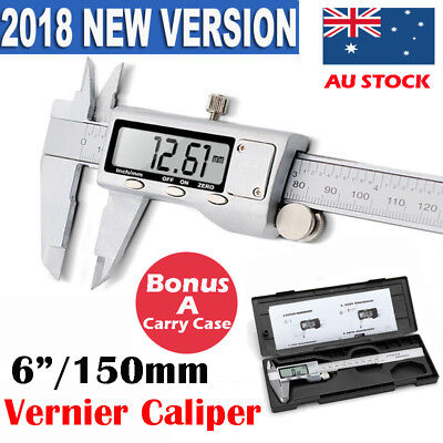 Caliper Vernier MM/ INCH Electronic LCD Digital Gauge Stainless Micrometer 6""
