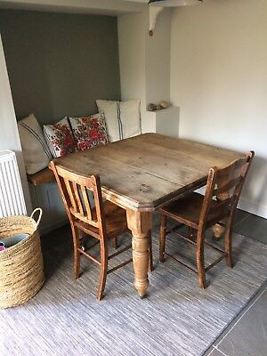 Extendable Rustic Farmhouse antique dining table 3 chairs Kitchen Vintage Wood