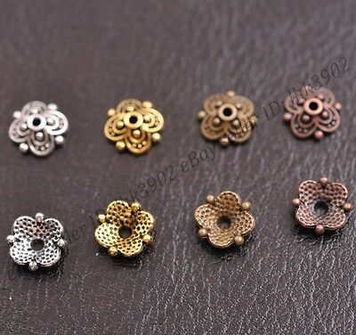 100Pcs Flower Bead Caps Floral Spacer Beads 8MM Tibetan Silver Alloy 8MM Z3113