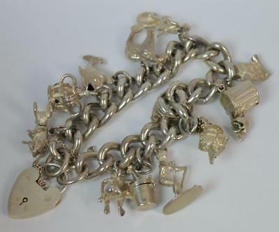 Heavy Chunky Vintage Solid Silver Ladies Charm Bracelet with Many Charms