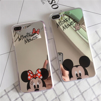 Mirror Case For iPhone Samsung Oppo Cute Cartoon Disney Mickey Minnie Soft Cover