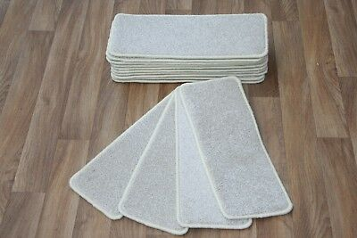 14 Carpet Stair case Treads Pearl Cream 301 Stain-Free Large Carpet Stair Pads