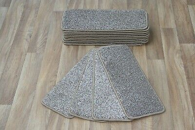 14 Carpet Stair Case Treads Noble 0875 Saxony Quality Brown / BeigeLarge Pads