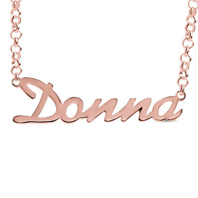 Donna Nameplate Necklace Gold / Rose Gold Plated 925 Sterling Silver Pendant