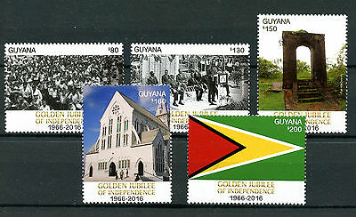 Guyana 2016 MNH Golden Jubilee of Independence 5v Set Flags Churches Stamps