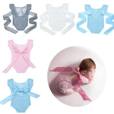 Newborn Baby Girls Romper Lace Floral Bodysuit Photo Props Photography Costumes