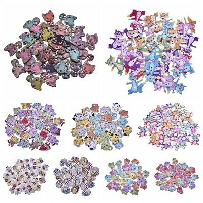 50Pcs/Set Lovely Animals Wooden Buttons For Kids Bag Clothing DIY Sewing Crafts
