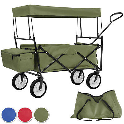 Foldable pull along wagon with roof garden trailer hand cart transport trolley