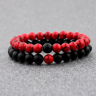 2Pcs Couple Lover His Hers Red  Stone Beaded Matching YinYang Distance Bracelets