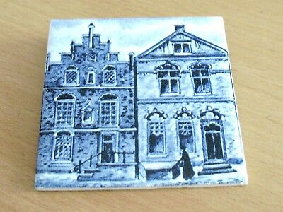 "KLM Airlines / Business Class  -   3""  x 3""  porcelain tile coaster - Blue Delft"
