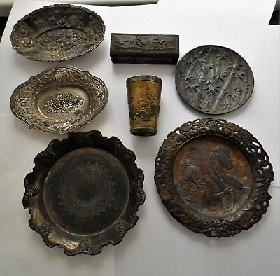 Antique Selection Of Silver Plated Japanese Bowls Plates Cup &  Chinese Box