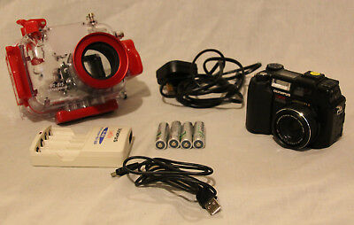 Olympus C-5050 camera with underwater housing