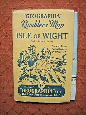Vintage Isle Of White Geographia Ramblers Map Walks Hikes Trains Steamer Routes