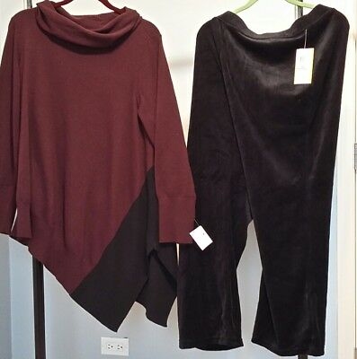 Black And Cranberry Asymmetrical Cotton Sweater & Black Velour Pants 2X $115