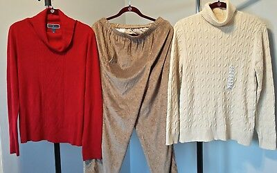 Red Sweater, Gold Thread Sweater, & Khaki Velour Pants From Macy's  XL $170