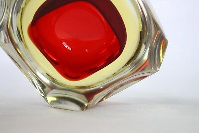 Vintage Red Thick Glass Ashtray Small Solid Clear Square Top Round Bottom