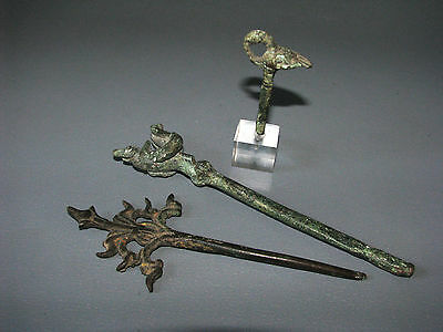 Beautiful & Most Rare 2 Ancient 1 Antique Bronze Pyu Hair Pin Cheap Don't Miss