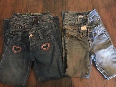 Lot Of 4 Jean Pants Girls Size 6 Justice, Old Navy And LEVI