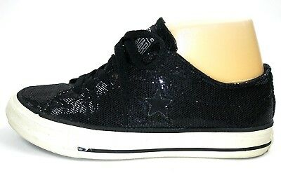 Converse One Star Womens Sneakers Size 6.5 Black Glitter Low Top Lace Up Shoes