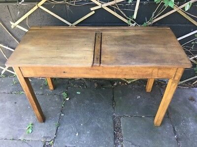 Vintage Double School Desks Lift Up Lids Dark Solid Wood Mid Century