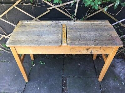 Vintage Double School Desks Original  Lift Up Lids Solid Wood Mid Century