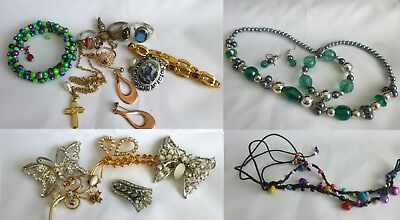 JOB LOT OF JUNK!! Costume Jewellery Brooches, Rings Old Dress Clip
