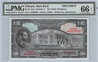 Ethiopia  $50  ND.1945  P 15s2 Specimen Series AA  PMG 66  Uncirculated Banknote