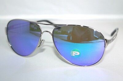 Oakley Caveat POLARIZED Sunglasses OO4054-23 Silver Frame W/ Violet Iridium Lens