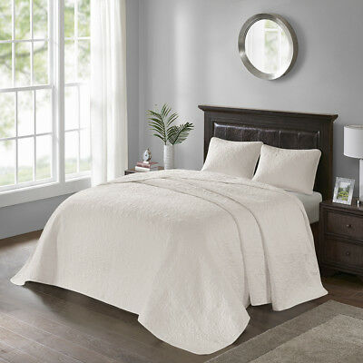 Beautiful Xxl Vintage Ivory White Stitched Scroll Quilt Bedspread Set Cal & King