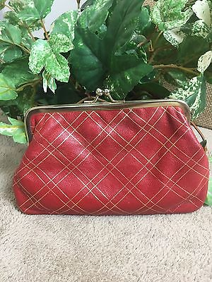 Italian Make Up Bag/Coin Purse Red Gold Leather Vintage
