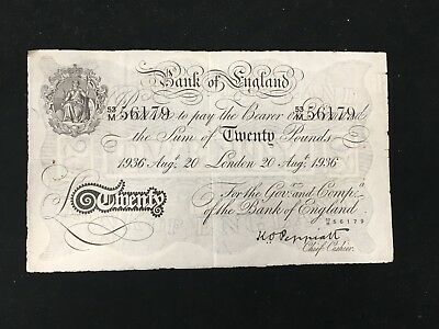 1936 WWII Operation Bernhard Counterfeit Great Britain 20 Pounds Note
