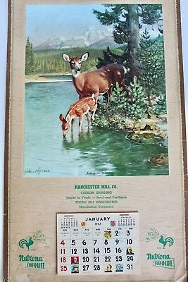 1953 Call of the Wild Calendar Manchester Mill Co Tennessee