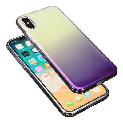 Colour Gradient Shockproof Transparent Hard PC Case Cover for iPhone X