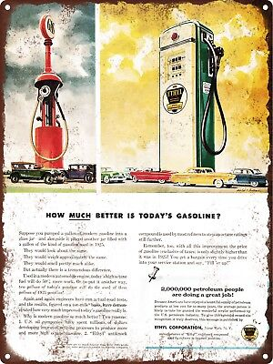 "1953 Visible Gas Pump Clear Ethyl Gasoline Metal Sign Repro 9x12"" 60572"