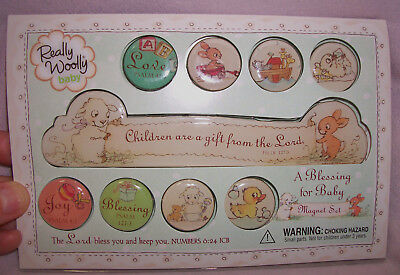 NEW! Dayspring Really Wooly Baby A BLESSING FOR BABY Bible Scriptures MAGNET SET