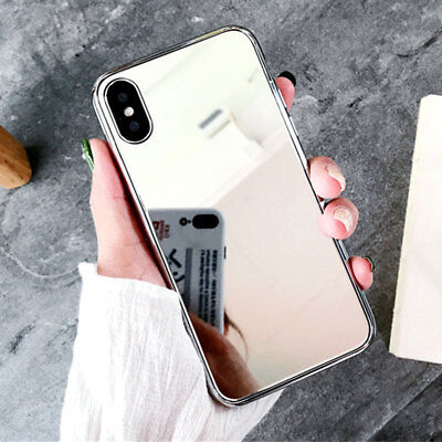 For iPhone XS X 8 7 6 Plus Luxury Mirror Tempered Glass Bumper Plated Case Cover
