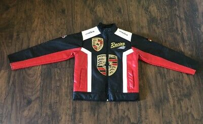Goodyear Michelin Porsche Child Unisex leather Racing Bomber Moto jacket size 10