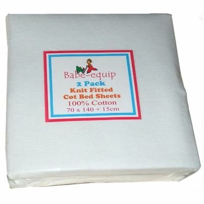 2X Fitted Jersey Toddler Cot Bed Sheets White Premium 100% Cotton 140cm x 70cm