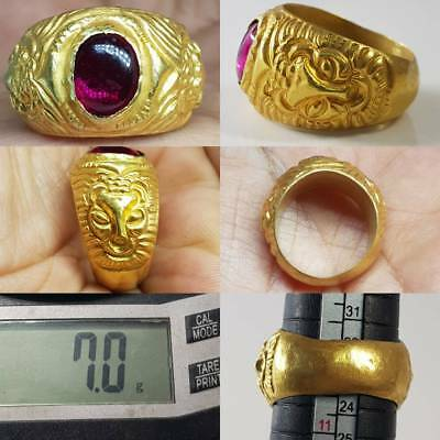 Beautiful Roman Rare Old 22k Gold Ring Old Ruby Stone  # 2D