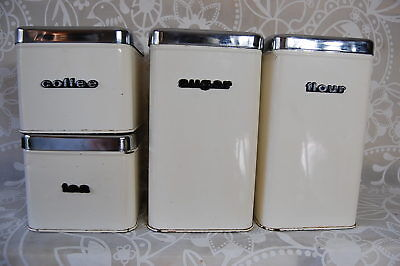 4 Vintage Enamelled food Canisters Sets Kitchen with chrome lids matched 1970s