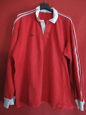 Maillot rugby Adidas 90'S Vintage Trefoil rouge ancien Oldschool - 6 x 7