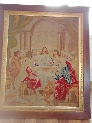 Antique tapestry picture The Last Supper
