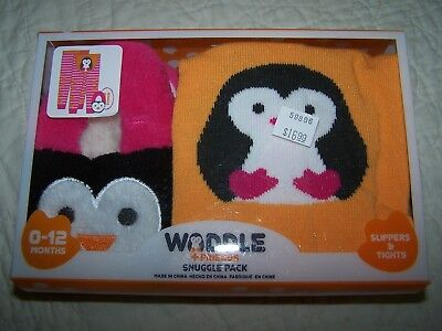 "Baby Girls ""WADDLE"" Snuggle Pack~0-12 Mos~Tights (Footless) & Slippers~NWT!"