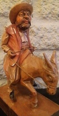 """Great Large 8"""" Antique Anri Type Black Forest Coloured Carved Wood Man On Donkey"""