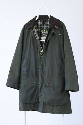 Vintage Mens BARBOUR Border A200 Green Olive Waxed Hunting Shooting Jacket Coat