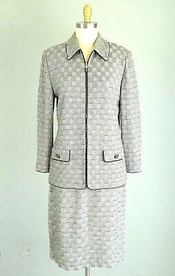 ST. JOHN Collection Marie Gray Black White Check Knit Skirt Suit Size 12