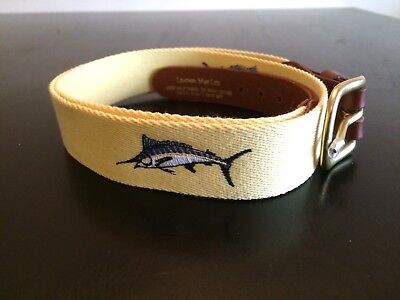 Leather Man Ltd. Yellow Marlin Embroidered Belt