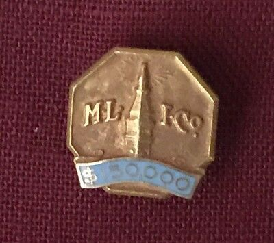 $150,000 Metropolitan Life 14k Yellow Gold & Light Blue Enamel Sales Award Pin